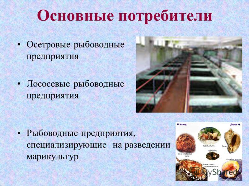 Основные потребители Осетровые рыбоводные предприятия Лососевые рыбоводные предприятия Рыбоводные предприятия, специализирующие на разведении марикультур