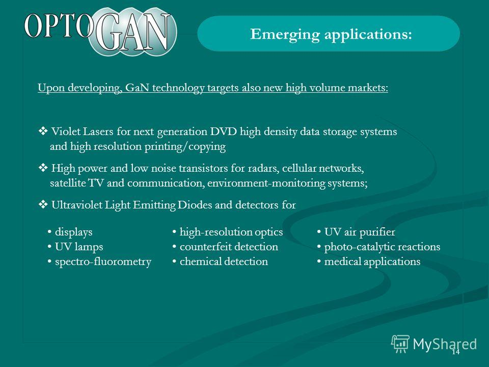 14 Upon developing, GaN technology targets also new high volume markets: Violet Lasers for next generation DVD high density data storage systems and high resolution printing/copying High power and low noise transistors for radars, cellular networks,