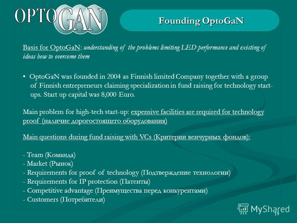19 Founding OptoGaN OptoGaN was founded in 2004 as Finnish limited Company together with a group of Finnish entrepreneurs claiming specialization in fund raising for technology start- ups. Start up capital was 8,000 Euro. Basis for OptoGaN: understan