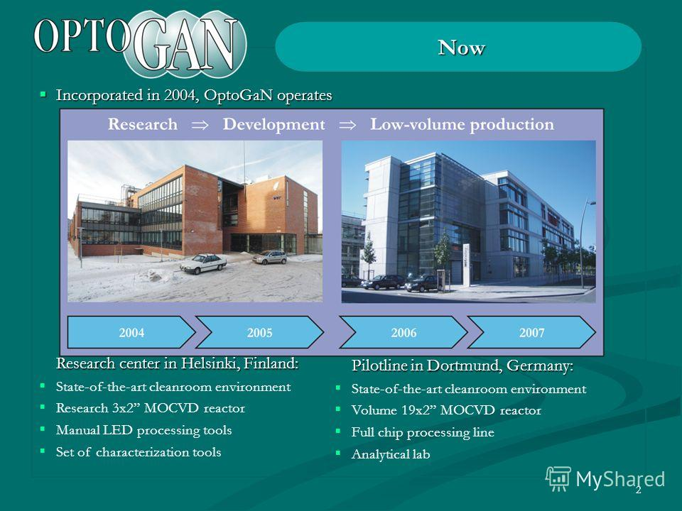 2 Now Incorporated in 2004, OptoGaN operates Incorporated in 2004, OptoGaN operates Research center in Helsinki, Finland: State-of-the-art cleanroom environment Research 3x2 MOCVD reactor Manual LED processing tools Set of characterization tools Pilo