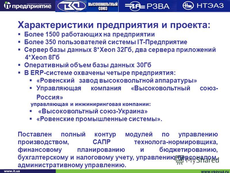www.vsoyuz.ru Характеристики предприятия и проекта: Более 1500 работающих на предприятии Более 350 пользователей системы IT-Предприятие Сервер базы данных 8*Хеоn 32Гб, два сервера приложений 4*Хеоn 8Гб Оперативный объем базы данных 30Гб В ERP-системе