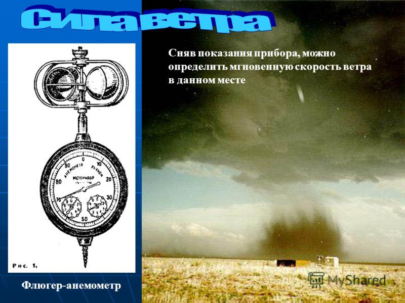 Флюгер-анемометр Сняв показания прибора, можно определить мгновенную скорость ветра в данном месте