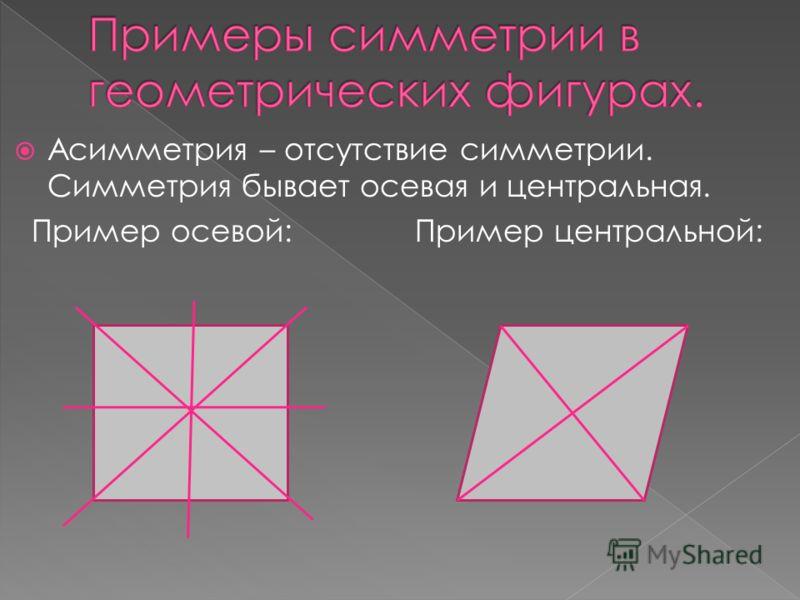 Асимметрия – отсутствие симметрии. Симметрия бывает осевая и центральная. Пример осевой: Пример центральной: