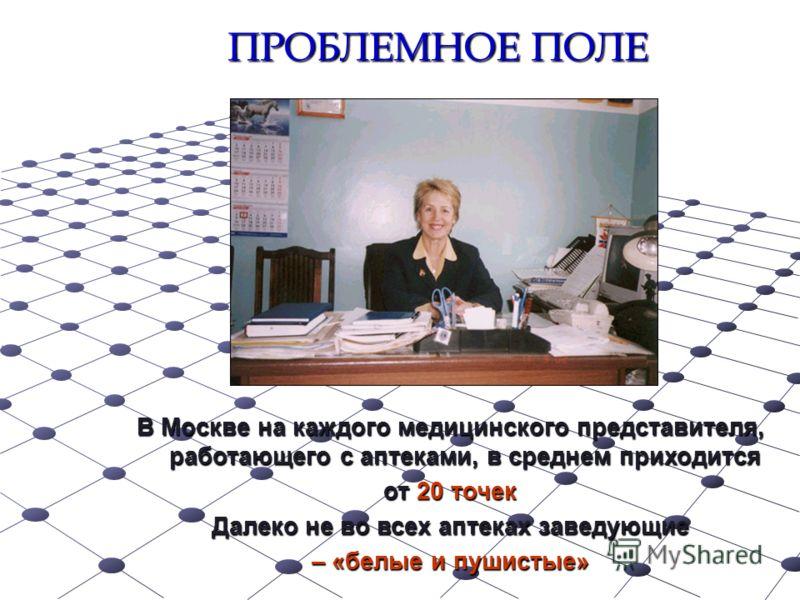 ПРОБЛЕМНОЕ ПОЛЕ В Москве на каждого медицинского представителя, работающего с аптеками, в среднем приходится от 20 точек Далеко не во всех аптеках заведующие – «белые и пушистые»