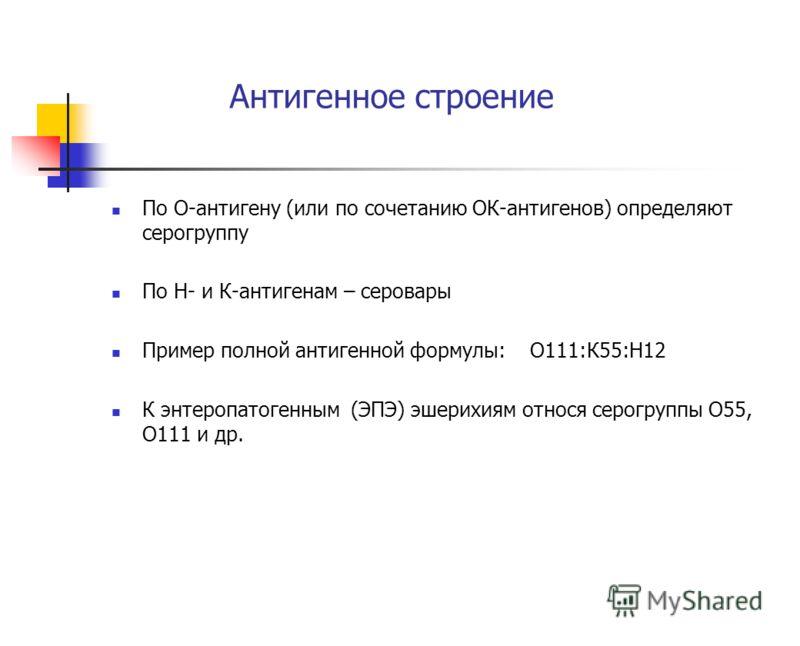Антигенное строение По О-антигену (или по сочетанию ОК-антигенов) определяют серогруппу По Н- и К-антигенам – серовары Пример полной антигенной формулы: О111:К55:Н12 К энтеропатогенным (ЭПЭ) эшерихиям относя серогруппы О55, О111 и др.