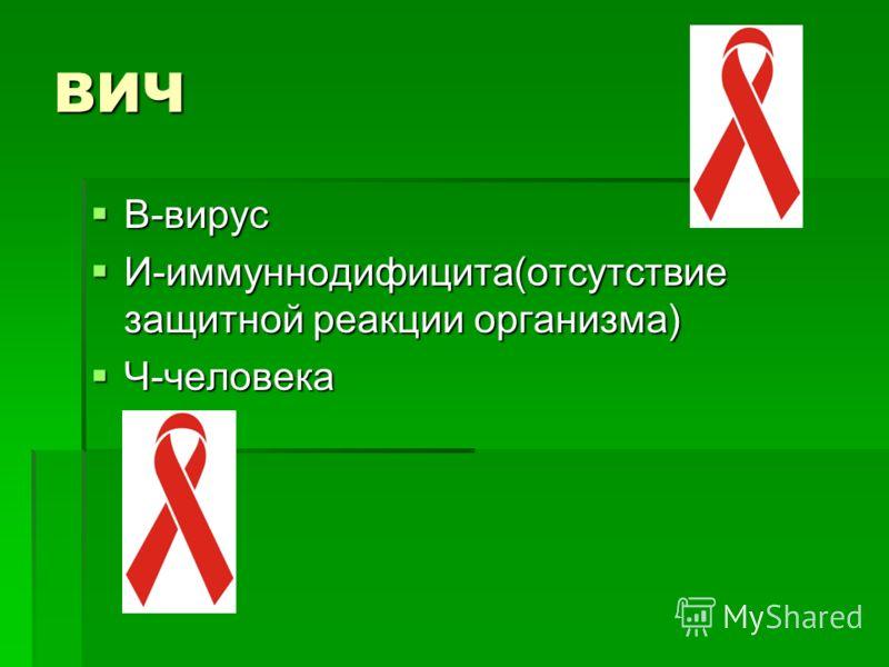 ВИЧ В-вирус В-вирус И-иммуннодифицита(отсутствие защитной реакции организма) И-иммуннодифицита(отсутствие защитной реакции организма) Ч-человека Ч-человека