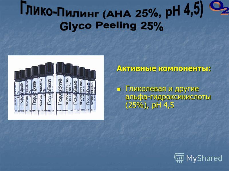 Активные компоненты: Гликолевая и другие альфа-гидроксикислоты (25%), рН 4,5 Гликолевая и другие альфа-гидроксикислоты (25%), рН 4,5