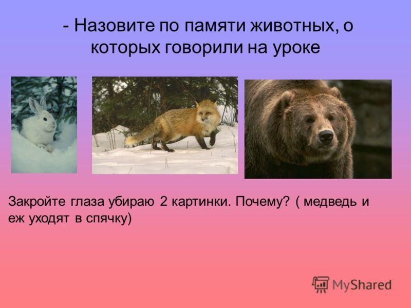 - Назовите по памяти животных, о которых говорили на уроке Закройте глаза убираю 2 картинки. Почему? ( медведь и еж уходят в спячку)
