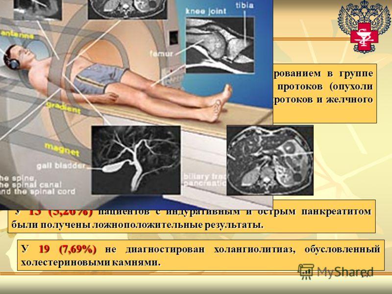 14 Выполнена 113 пациентам. У 13 (5,26%) пациентов с индуративным и острым панкреатитом были получены ложноположительные результаты. Чувствительность МСКТ с болюсным контрастированием в группе больных с эктраорганным сдавлением желчных протоков (опух