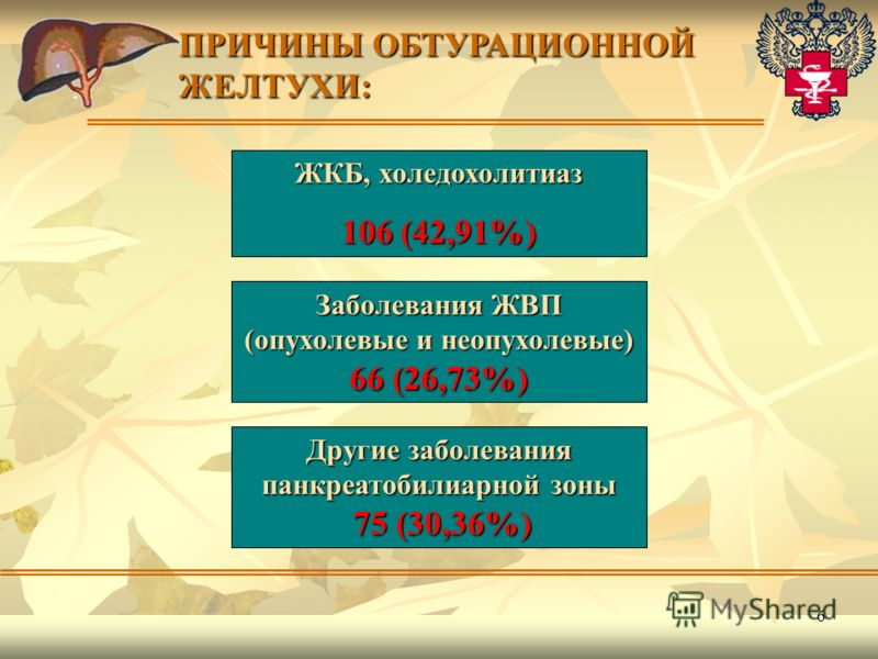6 ЖКБ, холедохолитиаз 106 (42,91%) ПРИЧИНЫ ОБТУРАЦИОННОЙ ЖЕЛТУХИ: Заболевания ЖВП (опухолевые и неопухолевые) 66 (26,73%) Другие заболевания панкреатобилиарной зоны 75 (30,36%) 75 (30,36%)