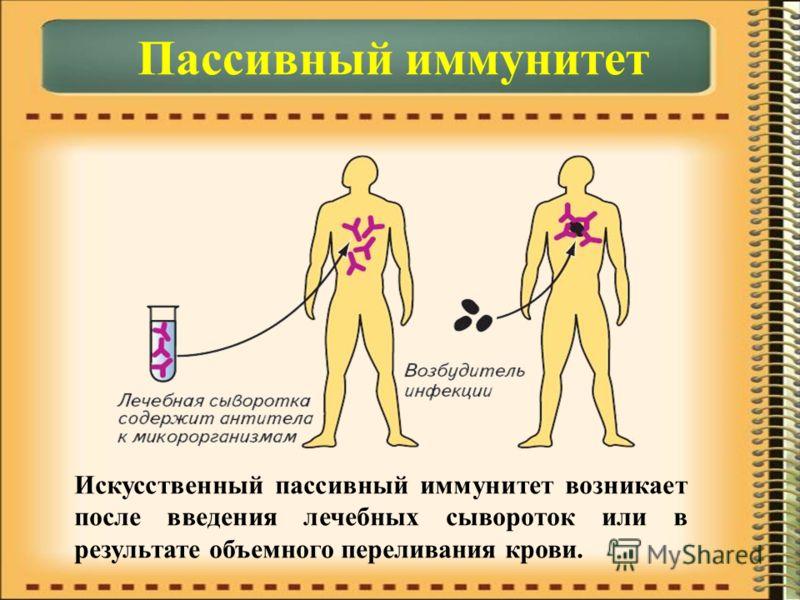 Искусственный пассивный иммунитет возникает после введения лечебных сывороток или в результате объемного переливания крови.