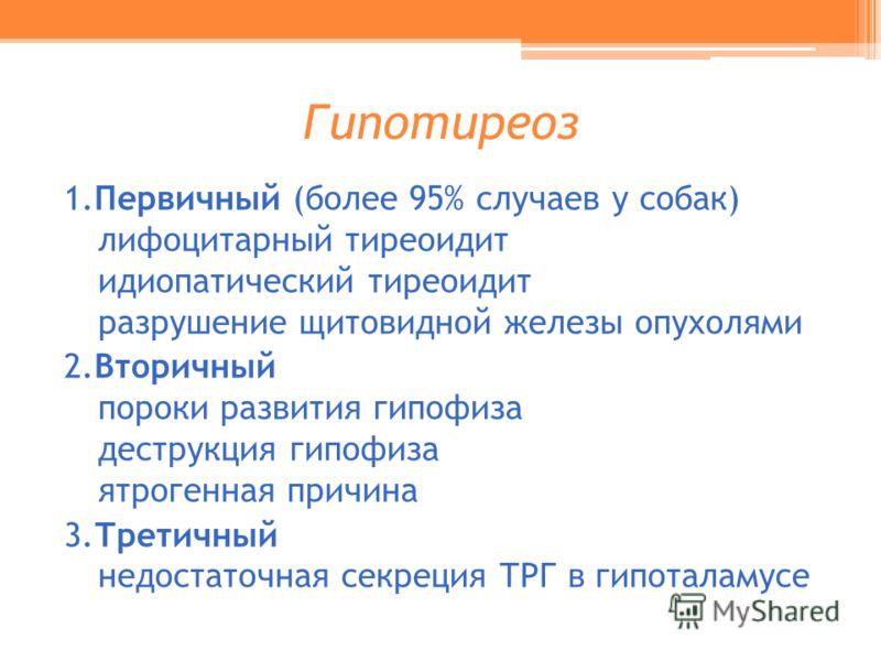 Гипотиреоз 1.Первичный (более 95% случаев у собак) лифоцитарный тиреоидит идиопатический тиреоидит разрушение щитовидной железы опухолями 2.Вторичный пороки развития гипофиза деструкция гипофиза ятрогенная причина 3.Третичный недостаточная секреция Т