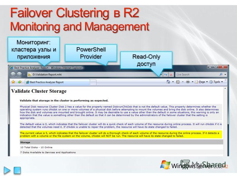 Мониторинг: кластера узлы и приложения PowerShell Provider Read-Only доступ