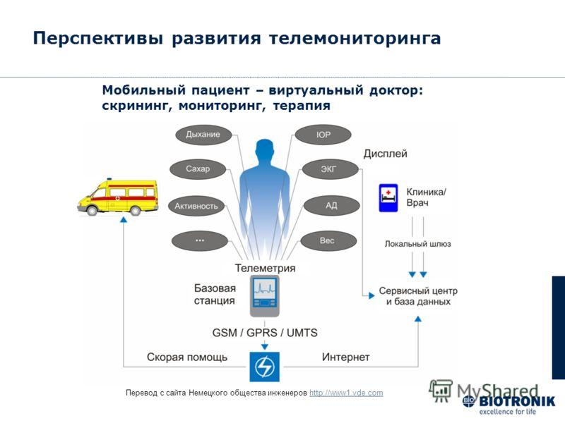 Перевод с сайта Немецкого общества инженеров http://www1.vde.comhttp://www1.vde.com Мобильный пациент – виртуальный доктор: скрининг, мониторинг, терапия Перспективы развития телемониторинга