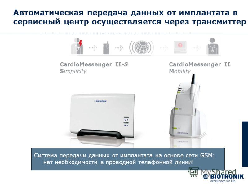 Автоматическая передача данных от имплантата в сервисный центр осуществляется через трансмиттер CardioMessenger II-S Simplicity CardioMessenger II Mobility Система передачи данных от имплантата на основе сети GSM: нет необходимости в проводной телефо