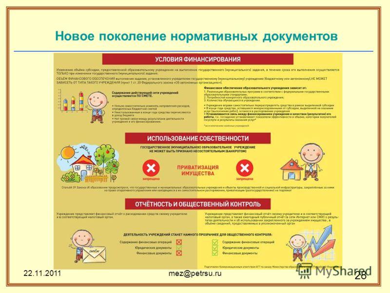 22.11.2011mez@petrsu.ru 28 Новое поколение нормативных документов