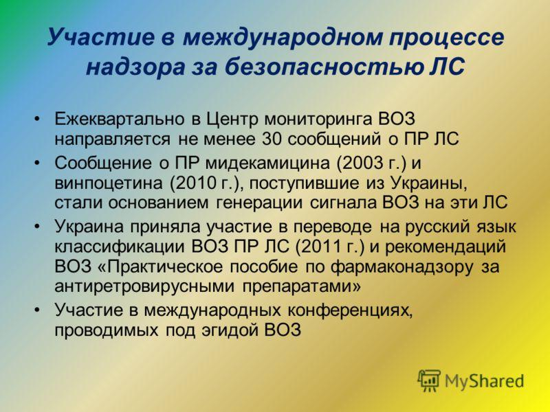 Участие в международном процессе надзора за безопасностью ЛС Ежеквартально в Центр мониторинга ВОЗ направляется не менее 30 сообщений о ПР ЛС Сообщение о ПР мидекамицина (2003 г.) и винпоцетина (2010 г.), поступившие из Украины, стали основанием гене