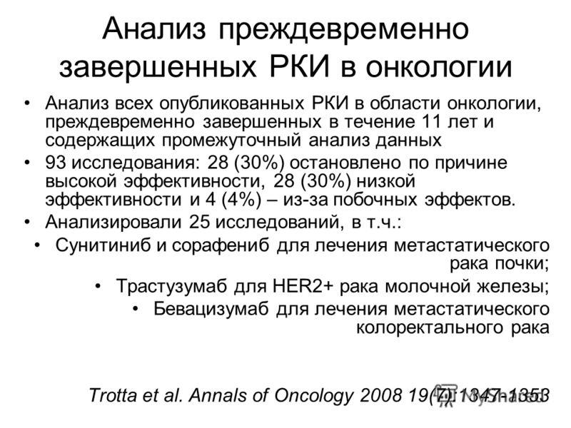 Анализ преждевременно завершенных РКИ в онкологии Анализ всех опубликованных РКИ в области онкологии, преждевременно завершенных в течение 11 лет и содержащих промежуточный анализ данных 93 исследования: 28 (30%) остановлено по причине высокой эффект