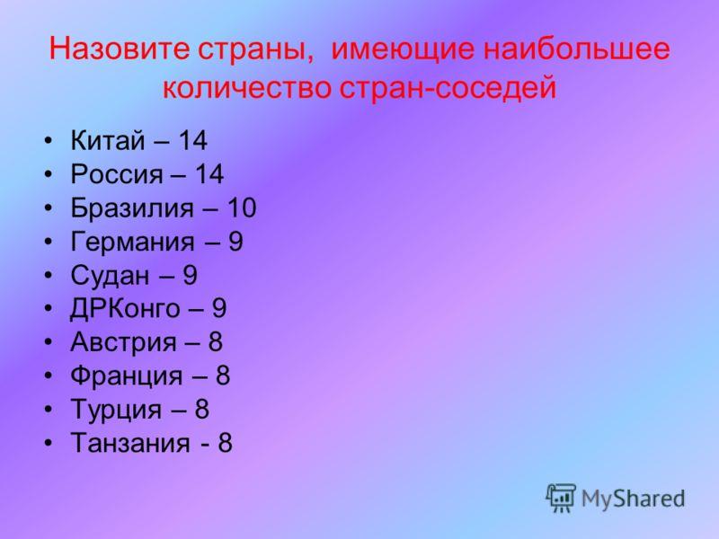 Назовите страны, имеющие наибольшее количество стран-соседей Китай – 14 Россия – 14 Бразилия – 10 Германия – 9 Судан – 9 ДРКонго – 9 Австрия – 8 Франция – 8 Турция – 8 Танзания - 8