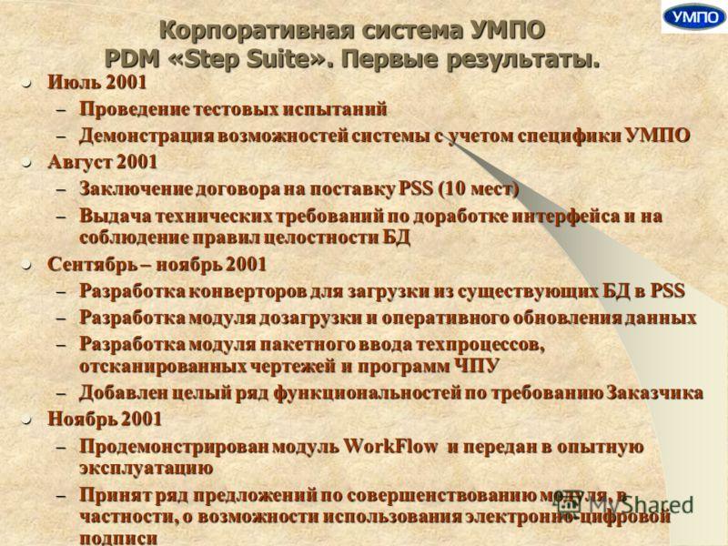 Корпоративная система УМПО PDM «Step Suite». Первые результаты. Июль 2001 Июль 2001 – Проведение тестовых испытаний – Демонстрация возможностей системы с учетом специфики УМПО Август 2001 Август 2001 – Заключение договора на поставку PSS (10 мест) –