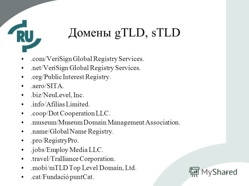 7 Домены gTLD, sTLD.com/VeriSign Global Registry Services..net/VeriSign Global Registry Services..org/Public Interest Registry..aero/SITA..biz/NeuLevel, Inc..info/Afilias Limited..coop/Dot Cooperation LLC..museum/Museum Domain Management Association.