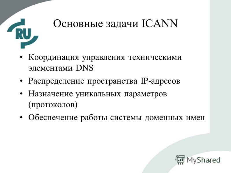 9 Основные задачи ICANN Координация управления техническими элементами DNS Распределение пространства IP-адресов Назначение уникальных параметров (протоколов) Обеспечение работы системы доменных имен