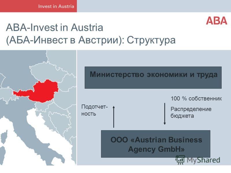 ABA-Invest in Austria (АБА-Инвест в Австрии): Структура Министерство экономики и труда ООО «Austrian Business Agency GmbH» Подотчет- ность 100 % собственник Распределение бюджета