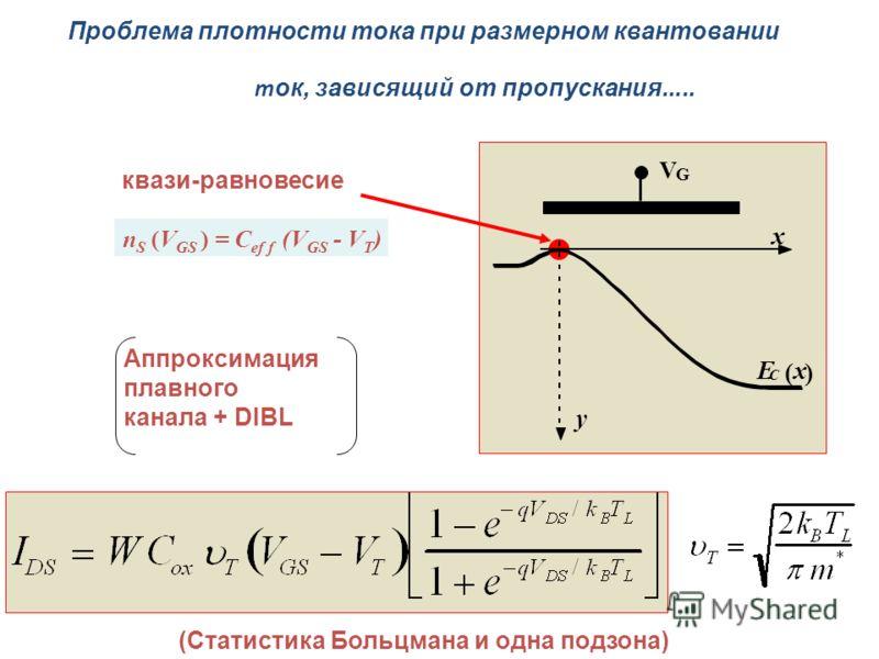 т ок, зависящий от пропускания..... V G E C ( x ) x y n S (V GS ) = C ef f (V GS - V T ) Аппроксимация плавного канала + DIBL квази-равновесие (Статистика Больцмана и одна подзона) Проблема плотности тока при размерном квантовании