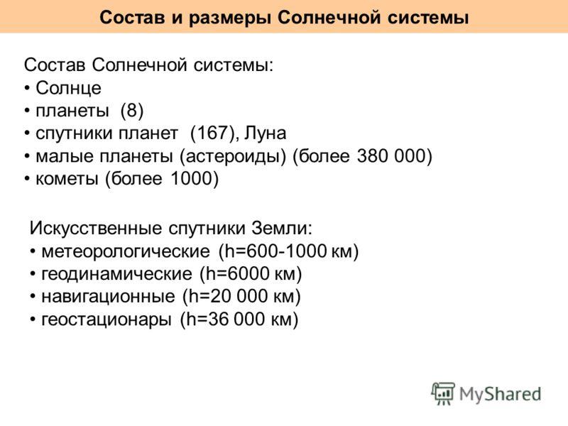 Состав и размеры Солнечной системы Состав Солнечной системы: Солнце планеты (8) спутники планет (167), Луна малые планеты (астероиды) (более 380 000) кометы (более 1000) Искусственные спутники Земли: метеорологические (h=600-1000 км) геодинамические