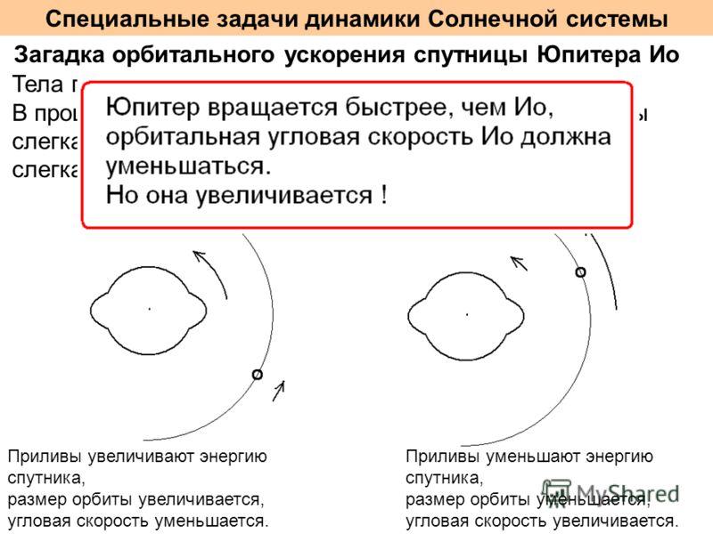 Специальные задачи динамики Солнечной системы Загадка орбитального ускорения спутницы Юпитера Ио Тела планет и спутников являются вязко-упругими. В процессе вращения и орбитального движения приливы слегка запаздывают от линии планета-спутник или слег