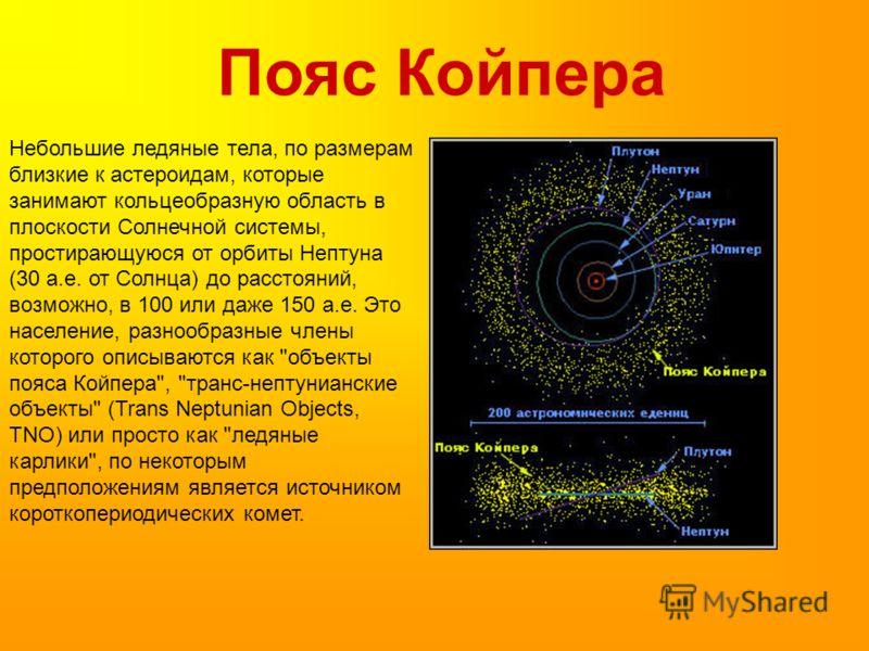 Пояс Койпера Небольшие ледяные тела, по размерам близкие к астероидам, которые занимают кольцеобразную область в плоскости Солнечной системы, простирающуюся от орбиты Нептуна (30 а.е. от Солнца) до расстояний, возможно, в 100 или даже 150 а.е. Это на