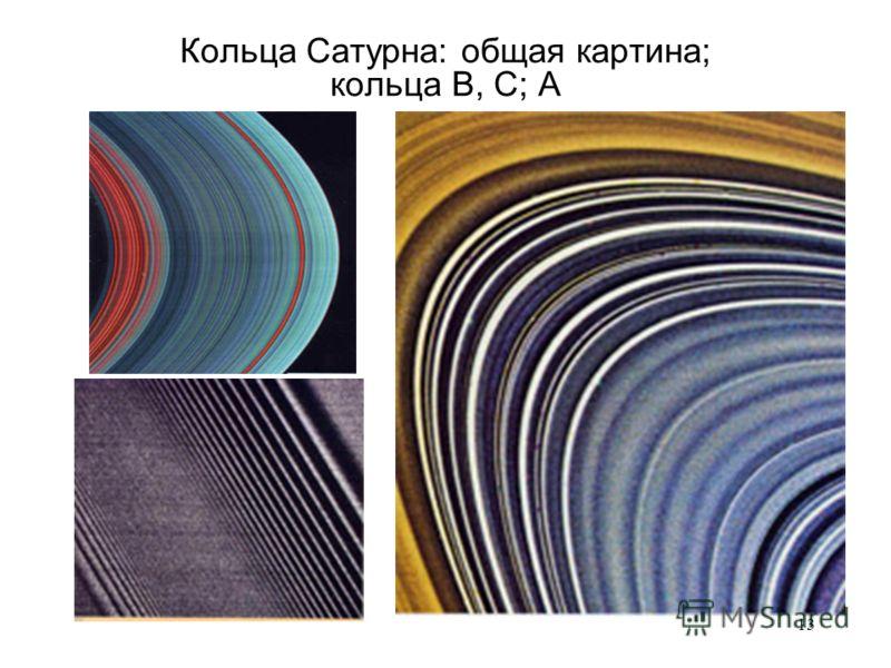 13 Кольца Сатурна: общая картина; кольца B, C; A