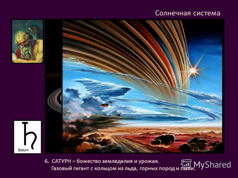 6. САТУРН – божество земледелия и урожая. Газовый гигант с кольцом из льда, горных пород и пыли. Солнечная система