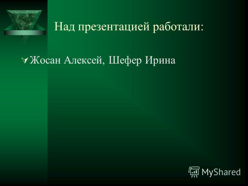 Над презентацией работали: Жосан Алексей, Шефер Ирина