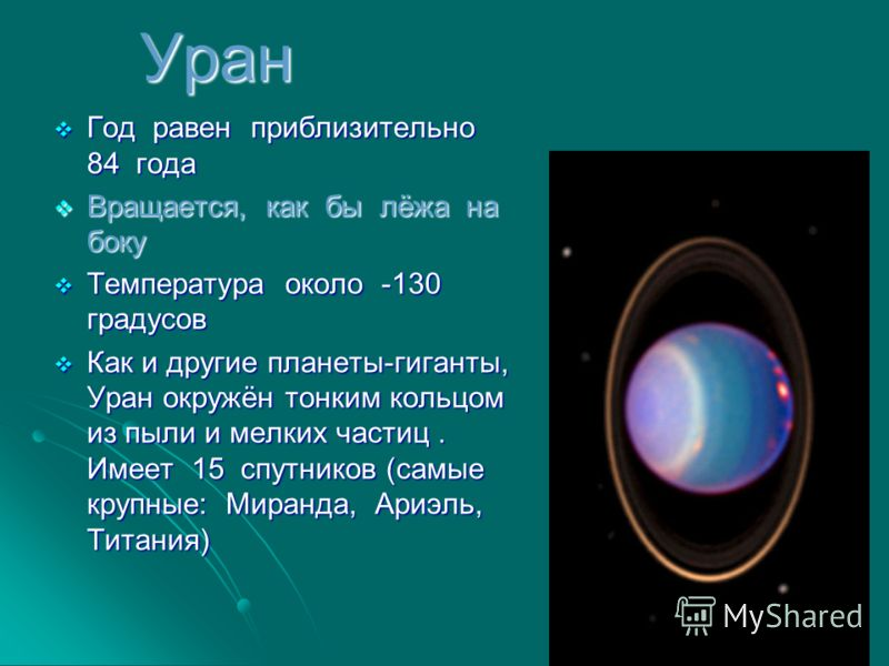 Уран Год равен приблизительно 84 года Год равен приблизительно 84 года Вращается, как бы лёжа на боку Вращается, как бы лёжа на боку Температура около -130 градусов Температура около -130 градусов Как и другие планеты-гиганты, Уран окружён тонким кол