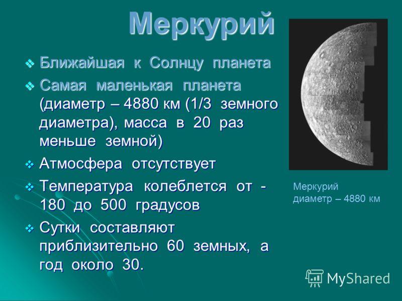 Меркурий Ближайшая к Солнцу планета Ближайшая к Солнцу планета Самая маленькая планета (диаметр – 4880 км (1/3 земного диаметра), масса в 20 раз меньше земной) Самая маленькая планета (диаметр – 4880 км (1/3 земного диаметра), масса в 20 раз меньше з