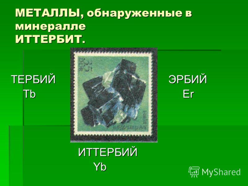 МЕТАЛЛЫ, обнаруженные в минералле ИТТЕРБИТ. ТЕРБИЙ ЭРБИЙ Tb Er Tb Er ИТТЕРБИЙ ИТТЕРБИЙ Yb Yb