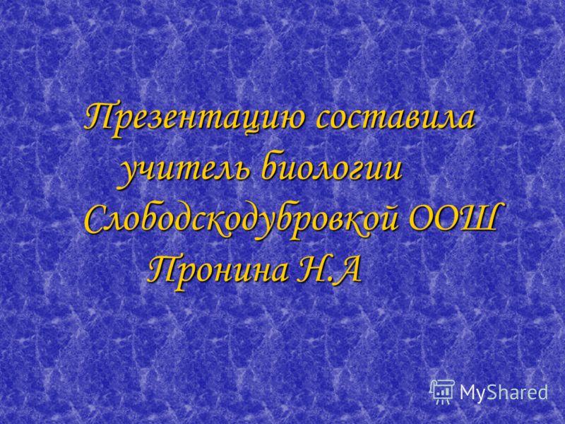 Презентацию составила учитель биологии Слободскодубровкой ООШ Пронина Н.А Презентацию составила учитель биологии Слободскодубровкой ООШ Пронина Н.А