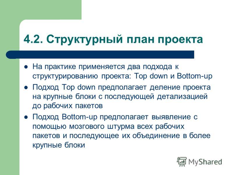 4.2. Структурный план проекта На практике применяется два подхода к структурированию проекта: Top down и Bottom-up Подход Top down предполагает деление проекта на крупные блоки с последующей детализацией до рабочих пакетов Подход Bottom-up предполага
