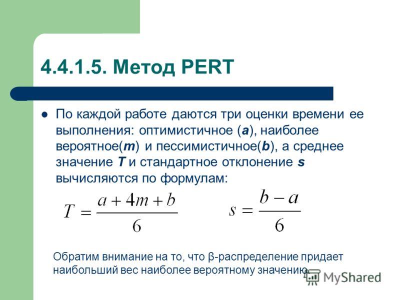 4.4.1.5. Метод PERT По каждой работе даются три оценки времени ее выполнения: оптимистичное (a), наиболее вероятное(m) и пессимистичное(b), а среднее значение Т и стандартное отклонение s вычисляются по формулам: Обратим внимание на то, что β-распред