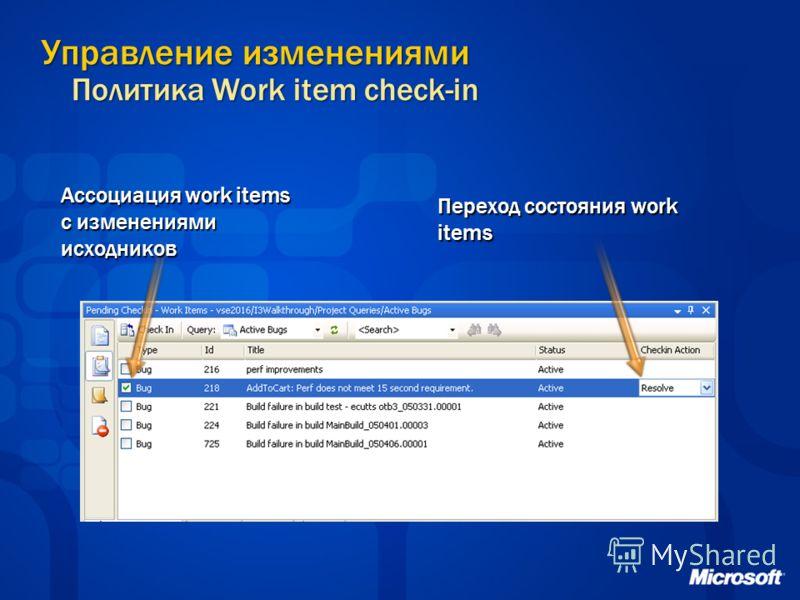 Управление изменениями Политика Work item check-in Ассоциация work items с изменениями исходников Переход состояния work items