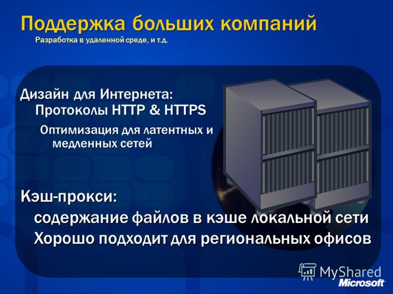 Поддержка больших компаний Разработка в удаленной среде, и т.д. Дизайн для Интернета: Протоколы HTTP & HTTPS Оптимизация для латентных и медленных сетей Кэш-прокси: содержание файлов в кэше локальной сети Хорошо подходит для региональных офисов