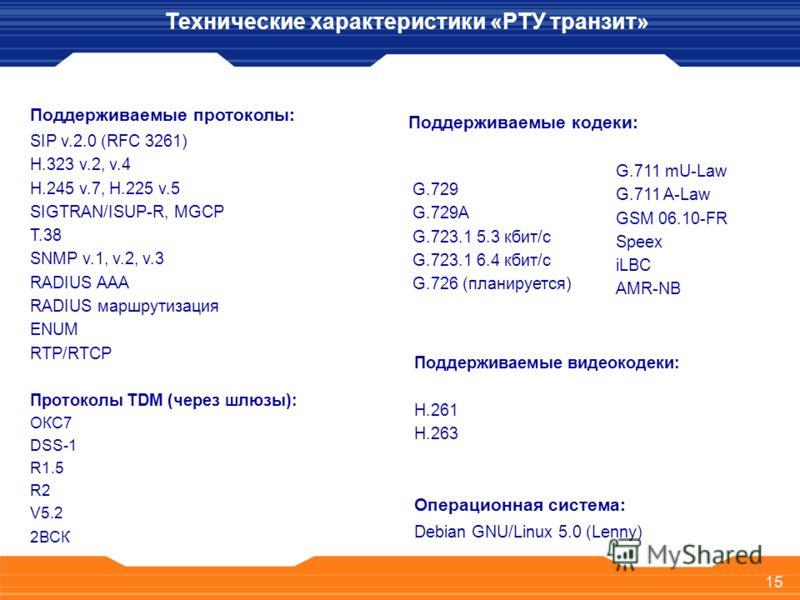 15 Поддерживаемые протоколы: SIP v.2.0 (RFC 3261) H.323 v.2, v.4 H.245 v.7, H.225 v.5 SIGTRAN/ISUP-R, MGCP T.38 SNMP v.1, v.2, v.3 RADIUS AAA RADIUS маршрутизация ENUM RTP/RTCP Протоколы TDM (через шлюзы): ОКС7 DSS-1 R1.5 R2 V5.2 2ВСК Операционная си
