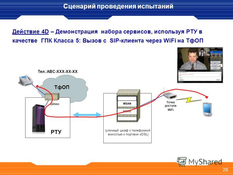26 Действие 4D – Демонстрация набора сервисов, используя РТУ в качестве ГПК Класса 5: Вызов с SIP-клиента через WiFi на ТфОП Сценарий проведения испытаний (уличный шкаф с телефонной емкостью и портами xDSL) ТфОП Шлюз Тел.:ABC-XXX-XX-XX 26 Точка досту