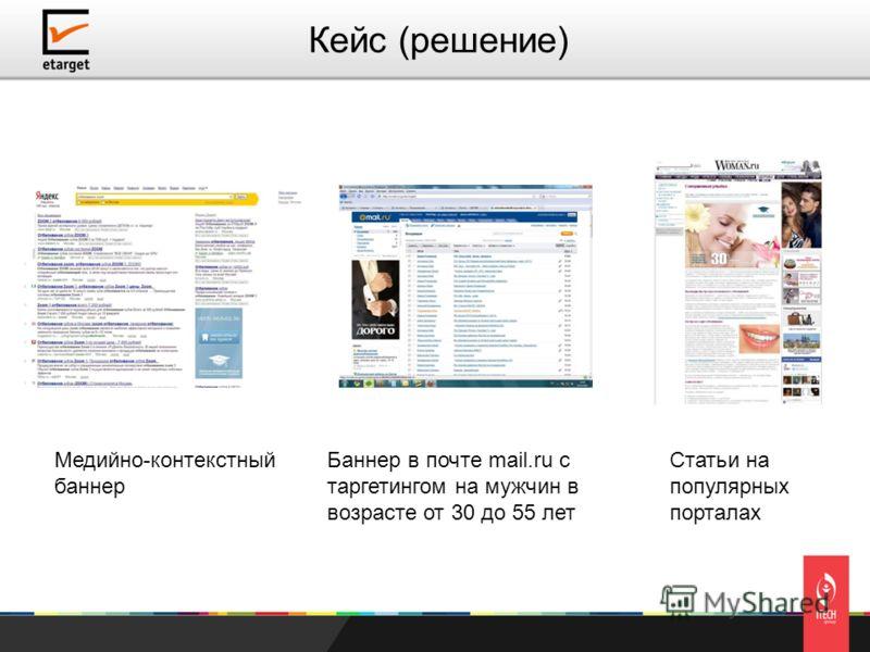 Кейс (решение) Медийно-контекстный баннер Баннер в почте mail.ru с таргетингом на мужчин в возрасте от 30 до 55 лет Статьи на популярных порталах