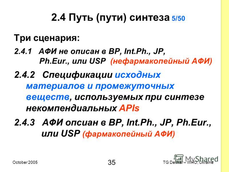 35 TG Dekker – WHO, UkraineOctober 2005 2.4 Путь (пути) синтеза 5/50 Три сценария: 2.4.1 AФИ не описан в BP, Int.Ph., JP, Ph.Eur., или USP (нефармакопейный AФИ) 2.4.2 Спецификации исходных материалов и промежуточных веществ, используемых при синтезе