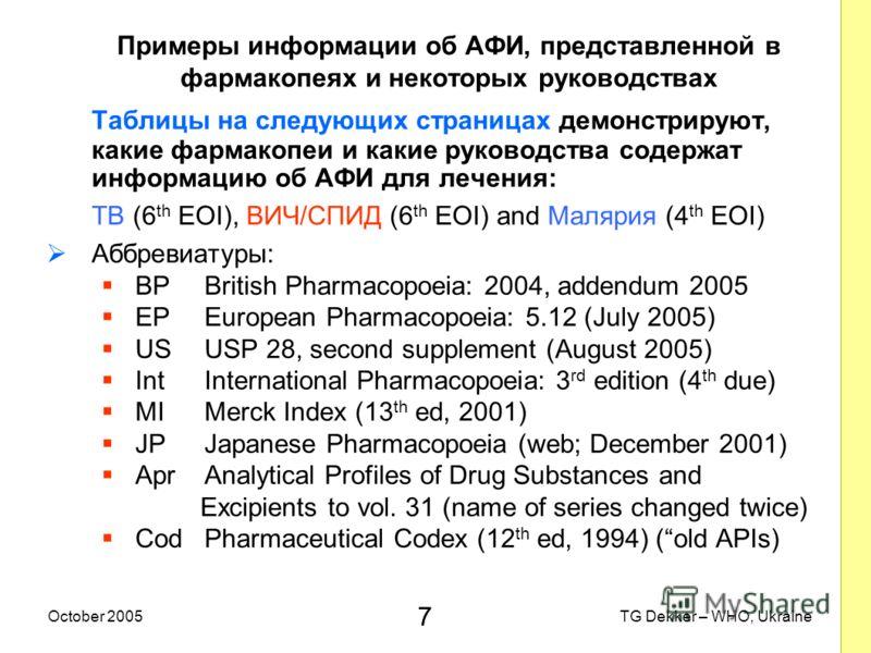 7 TG Dekker – WHO, UkraineOctober 2005 Примеры информации об AФИ, представленной в фармакопеях и некоторых руководствах Таблицы на следующих страницах демонстрируют, какие фармакопеи и какие руководства содержат информацию об AФИ для лечения: TB (6 t
