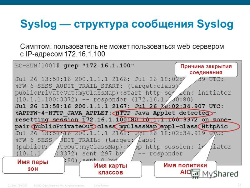 © 2010 Cisco Systems, Inc. All rights reserved. Cisco Partner G2_Sec_TSHOOT 21 Syslog структура сообщения Syslog Симптом: пользователь не может пользоваться web-сервером c IP-адресом 172.16.1.100 EC-SUN[100]# grep