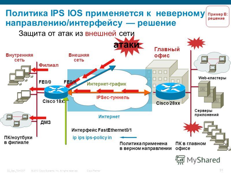 © 2010 Cisco Systems, Inc. All rights reserved. Cisco Partner G2_Sec_TSHOOT 91 Политика IPS IOS применяется к неверному направлению/интерфейсу решение Главный офис Серверы приложений ПК в главном офисе Web-кластеры Филиал Cisco 28xx Cisco 18xx IPSec-