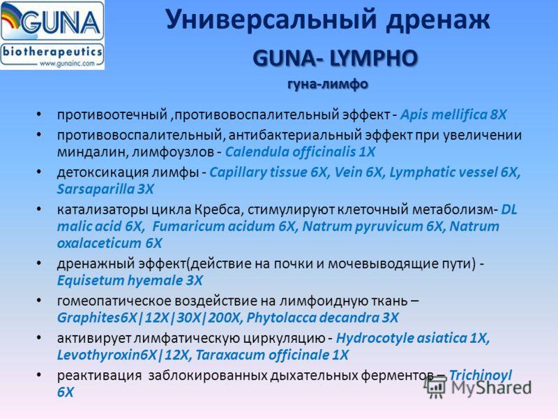 GUNA- LYMPHO гуна-лимфо Универсальный дренаж GUNA- LYMPHO гуна-лимфо противоотечный,противовоспалительный эффект - Apis mellifica 8X противовоспалительный, антибактериальный эффект при увеличении миндалин, лимфоузлов - Calendula officinalis 1X детокс